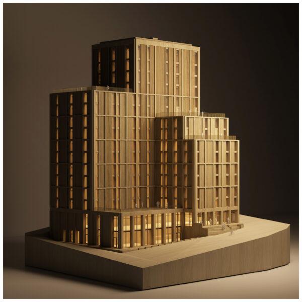 ArchitecturalModel_BlueScale_NJYStudio_Wood_Illuminated_Night